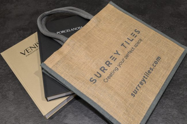 free brochures and bags from surrey tiles