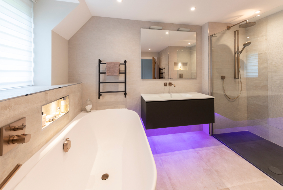 guildford bathroom with tiles by surrey tiles