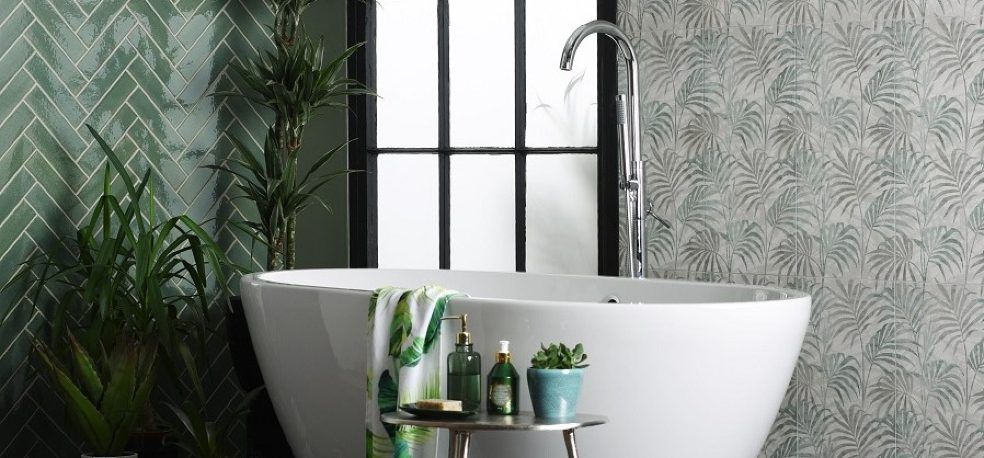 Bring the outdoors into your bathroom design with beautiful botanical infused tile design